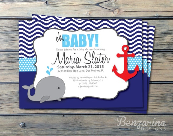 Great Baby Shower Invitation Nautical Whales Waves Anchor Red