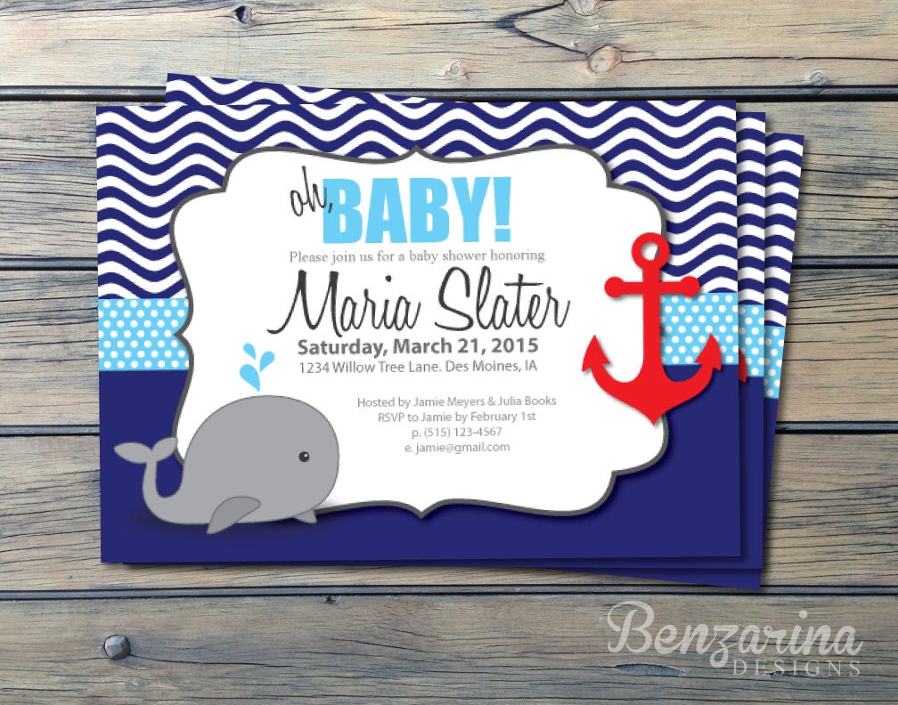 Baby Shower Invitation Nautical Whales Waves Anchor Red