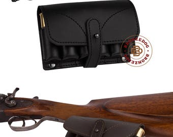 Leather Hunting Belt Cartridge Holder Handmade Shell Pouch Shotgun Rifle