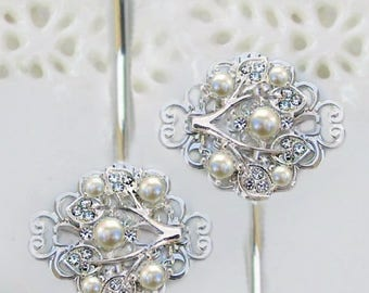 Wedding Hair pins, Bridesmaid Hair Clip, Ivory Pearl hair Pin, pearl bobby pins,  Bridal accessories, Ivy Rose