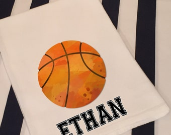 Personalized Sports Basketball White Flour Sack Hand Towel Boys Girls Bathroom Hand Towel Birthday Party Favor Sports Gift
