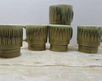 Japanese Drip Glaze Mugs, set of 5, vintage stacking mugs