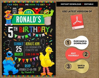 Sesame Street Birthday Invitation, Sesame Street Invitation Instant Download, Sesame Street Party Invitation, Birthday Boy Invitations