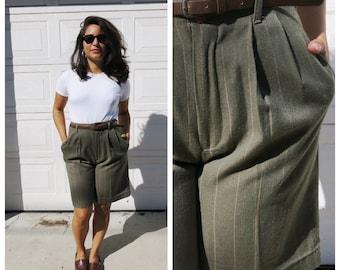 Green Pinstripe Trouser Shorts