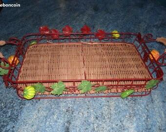 Vintage WICKER and Metal basket with pumpkins round