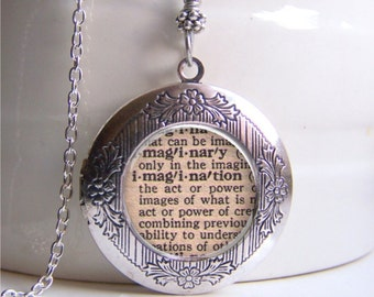 Photo Locket Necklace, Imagination Necklace, Dictionary Necklace, Locket