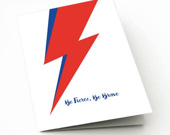 Be Fierce Be Brave Bowie Card, card for David Bowie fan, birthday, encouragement, sister, brother, music lover