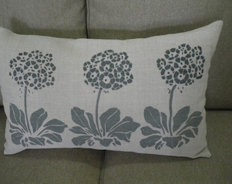 hand printed muted blue and natural auricular cushion cover