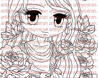 Digital Stamp - Rosetta(#163), Digi Stamp, Coloring page, Printable Line art for Card and Craft Supply