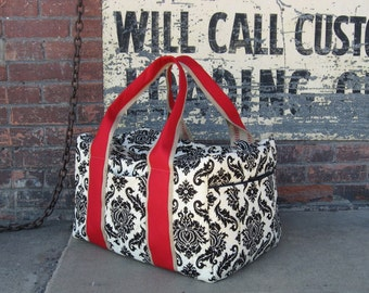 Weekender Duffel in Damask Print Fabric made to order
