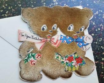 Vintage Hallmark teddy bear birthday card. Hall Bros. Plush fur. 1945. Kids birthday. Greeting card.