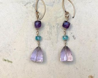 Lavender Amethyst Drop Earrings