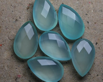 3 Matched Pair, AAA Quality, Aqua Chalcedony Faceted Pear Shape Briolettes 12X16mm