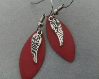 Dark Red Angel Wing Earrings