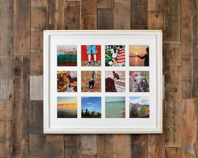 """19.25 x 16.5"""" Picture Frame in 1x1 Outside Cove Style w/ Mat Windows for (12) 4x4 Photos in COLOR of YOUR CHOICE - Collage Frame 4x4 Photos"""