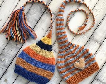 Newborn Baby Boy TWiN HaTs BaBY PHoTo PRoP FCN Tassel Beanie & Heart MuNCHKiN Stocking Cap LoNG TAiL Blue Rust Orange Gold Stripe Toques RTS