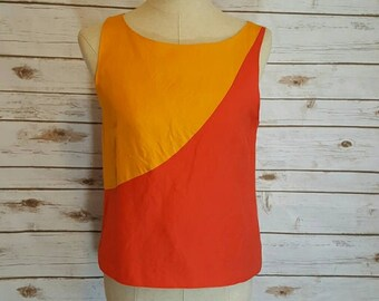 Vintage, 1980's, Herve Bernard color block blouse, Medium