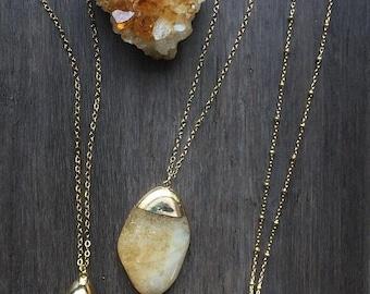 On Sale Citrine Necklace, Long Necklace, Citrine Pendant, Gold Necklace, Boho Necklace, Layering Necklace, Crystal Necklace, Raw Citrine Pen