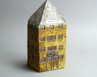 Small Home ,Miniature  House, Yellow Tower House, Gift for An Architect , Architecture , Ceramic Sculpture,Tall Building