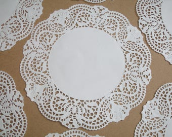 10 white paper lace Doilies