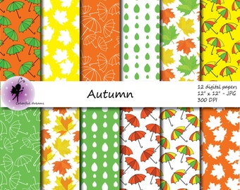 Autumn Digital Paper, Autumn  Scrapbooking Papers, paper with autumn leaves,umbrellas,  personal or commercial use