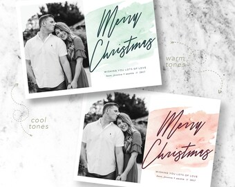 Watercolor Christmas Holiday Photo Cards