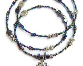 Hematite Womb Wellness Lotus Waist Beads, Ancient Egyptian Waist Beads, African Waist Beads, Lotus Belly Chain, Lotus Waist Chain