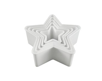 "4"" Cookie Cutter Star Shape Set of 5 Plastic White Bakery Supplies FREE SHIPPING!!"
