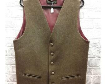 """Men's Pure Wool Tweed Waistcoat, Mens Pure Wool Tweed Vest, Men's Brown Tweed waistcoat, Men's Brown Tweed Vest, 40""""-42"""" Chest"""