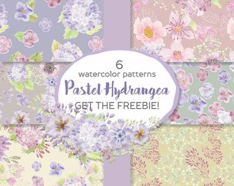 Set of 6 watercolor papers; get the FREEBIE! pastel Hydrangeas; seamless patterns; scrap booking material; instant download