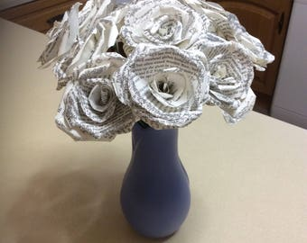 Handmade Book Page Paper Sparkly Roses, Set Of 12