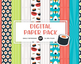 50% OFF SALE! Sushi Digital Paper, Japanese Background Paper - Commercial Use, Instant Download