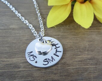 Teacher Necklace - Handstamped, Personalized Necklace - Name, Apple Necklace - Teacher Appreciation Gift
