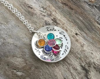 Personalized birthstone family necklace | Sterling Birthstone family necklace | Birthstone family necklace with names | Grandma Necklace