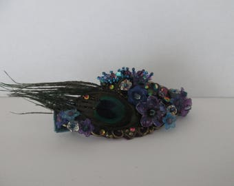 "Hair Clip ""Collection Peacock"" on a bronze color print with ""pip"" Czech glass beads, flower beads and a real Peacock feather"