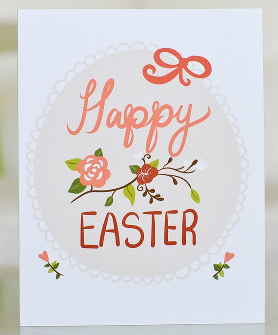 Items Similar To Happy Easter Card Soft Delicate Classy Flowers Spring Peeps Beige Red Orange Custom