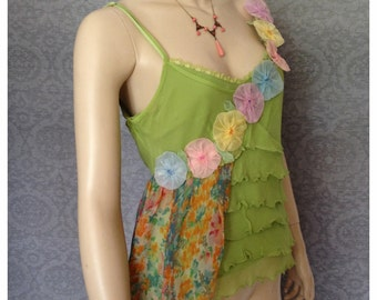 Altered Couture, Silk  Camisole, Baby Doll,  1920s  Flowers, Sherbet Shades of  Lime, Tangerine, Lemon