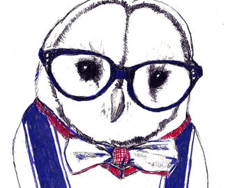 Owl Drawing - Albert Owl All Dressed Up - Owl In Bow Tie