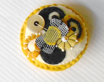 Modern Felt Pin of Circles and Swirls - Abstract Brooch in Black, Off White, Grey, Mustard , Goldenrod Yellow  Shades