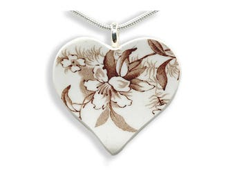 Antique China Heart Necklace. Gift for Her. Hand Made Jewelry. Brown Floral. Vintage Broken China. Gift Box. Silver Chain Included