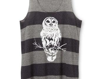 Womens Owl Top - Womens Owl Tank Top - Striped tank Top - xs, Small, Medium, Large, XL