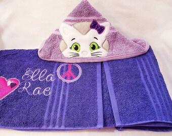 Kitty Cat Hooded Towel, Personalized Towel, Bath Towel, Beach Towel,Pool Towel