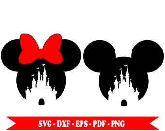 Minnie, Mickey Mouse Disney Castle svg, download in digital format svg, eps, dxf, png, pdf. For Silhouette Cameo, Cricut, vinyl, embroidery