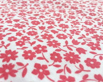 Vintage 60s Country House fabric 50 x 80 cm: Mille Fleur/Flower/Rot