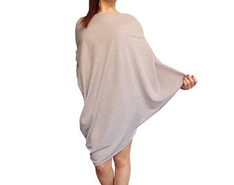 Tunnic Dress Blouse 3 in 1,  loose fit, oversized, grey, trendy dress, one size