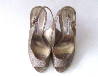 Manolo Blahnik Glitter Slingback Peep-Toe Pumps Shoes