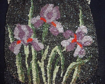 1918-1920s Era Iris Floral Design Beaded Purse  item 42  Purses