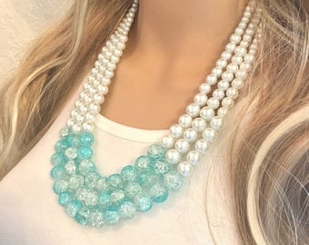 SALE! Robin's Egg Blue + Pearl Graduated Statement Necklace, bridesmaid necklace, pearl and glass bib necklace, blue and white