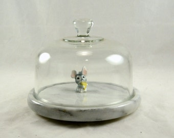 Marble Domed Cheese Tray Platter - Glass Dome Cover -Vintage Buffet