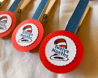 Dr. Seuss Monthly Photo Banner Clips - 13 Month Clips for Photos - Cat in the Hat - Seuss Photo Banner First Birthday